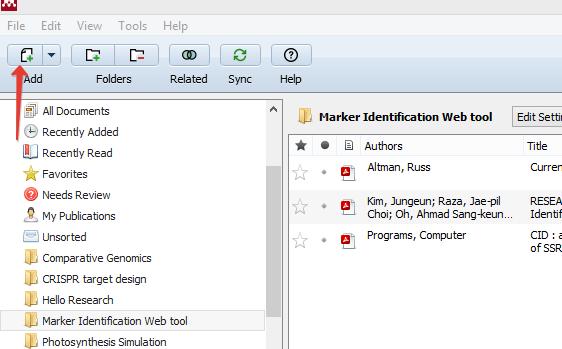 Add new files in the Mendeley Desktop - Screenshot