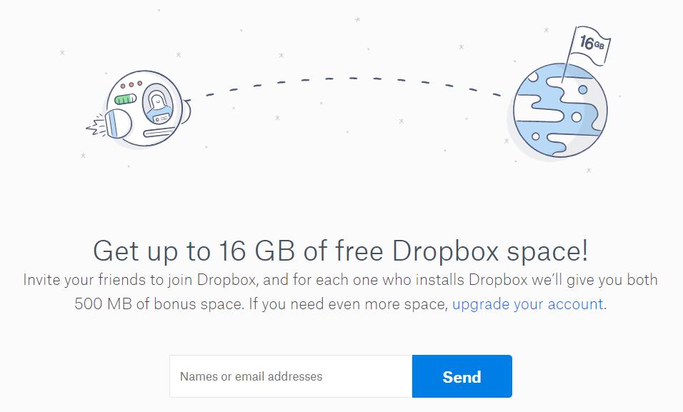 Invite friends to Dropbox
