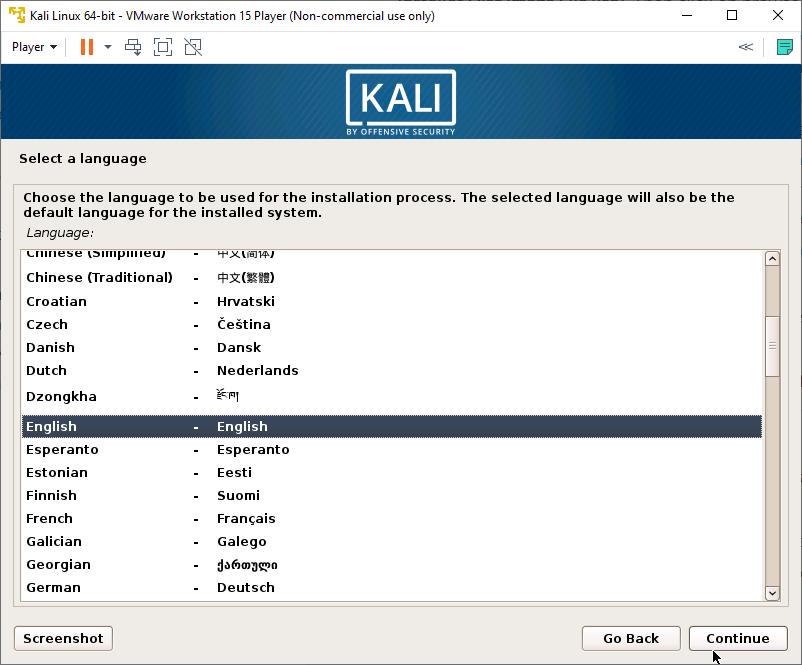 Kali Linux Installer - Choose Language