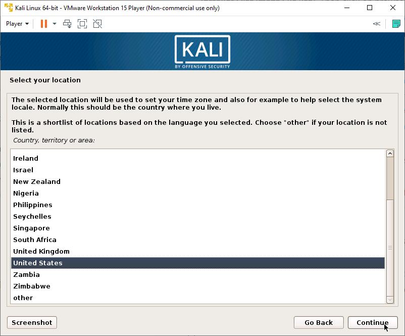 Kali Linux Installer - Choose Location