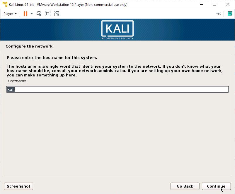 Kali Linux Installer - Enter hostname