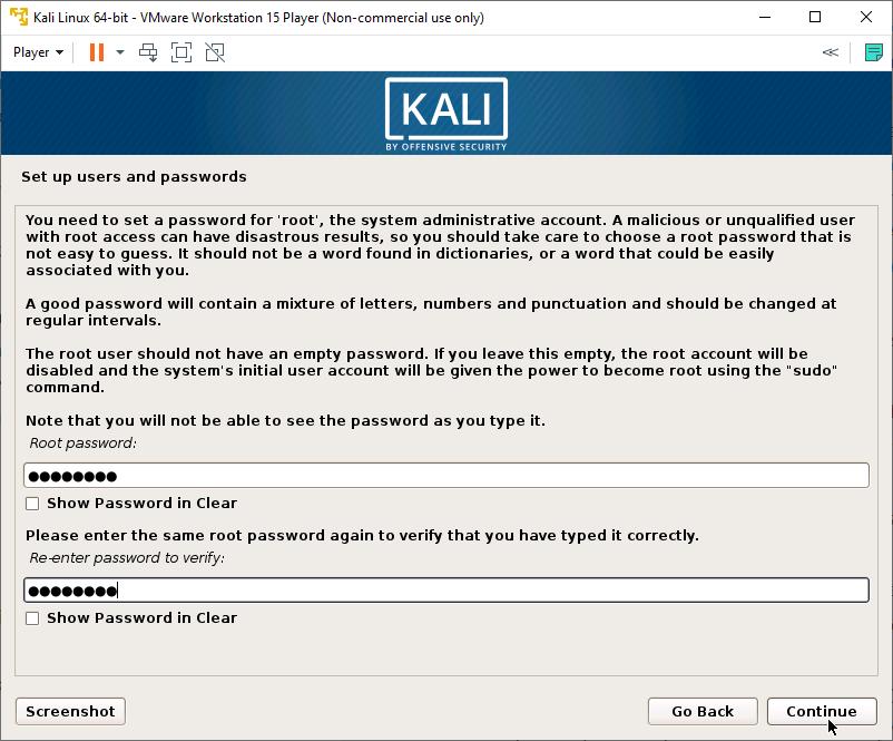 Kali Linux Installer - Root user password