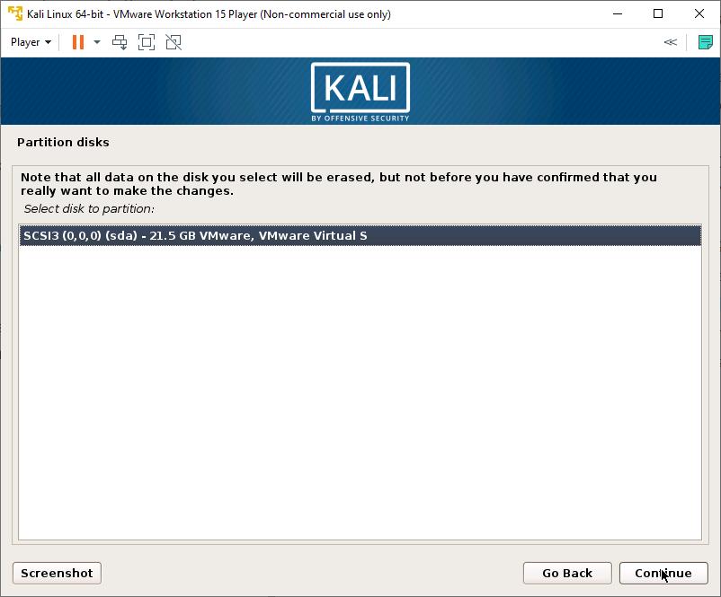 Kali Linux Installer - Partition Disk - Select Hard drive