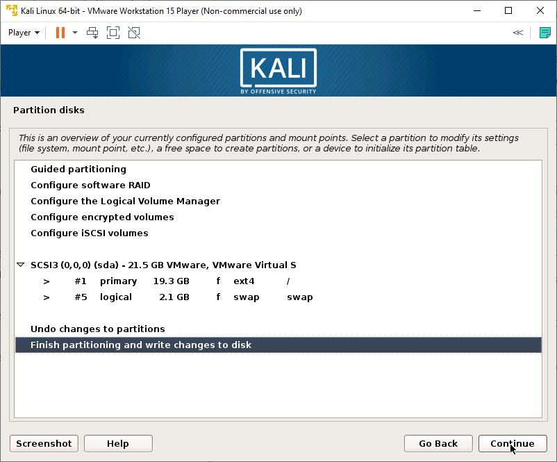 Kali Linux Installer - Partition Disk - Finish Partitioning