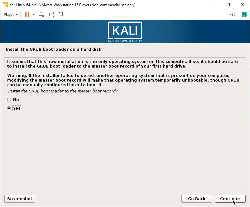 Kali Linux Installer - GRUB Bootloader