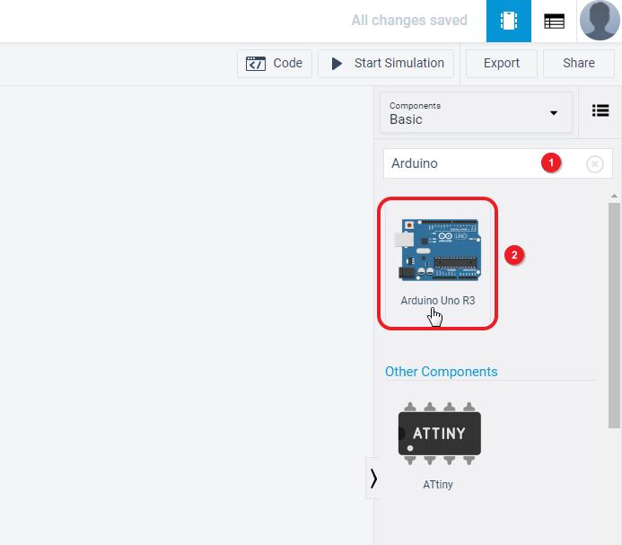 Selecting Arduino UNO on Tinkercad
