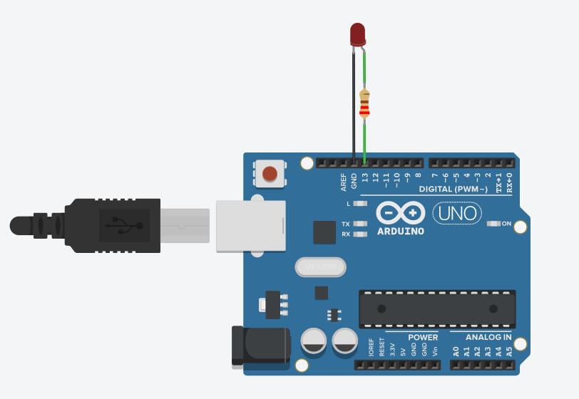 LED Blinking circuit on tinkercad